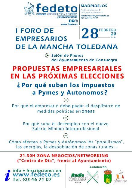 I Foro de Empresarios de la Mancha Toledana. Consuegra 2019