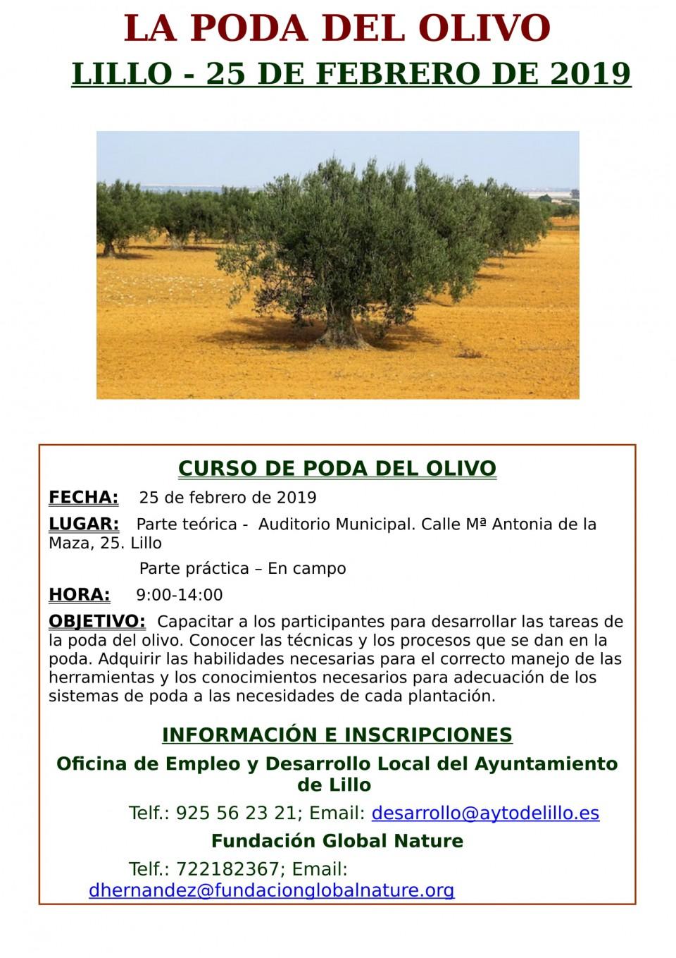 Cambio de ubicación Cursos de Poda Olivo y Poda Almendro