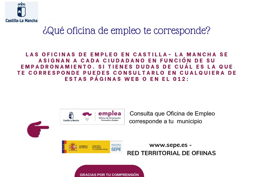 Instrucciones de la Oficina de Empleo de Villacañas para el sellado de la tarjeta de desempleo, alta como demandante de empleo y solicitud de prestaciones.